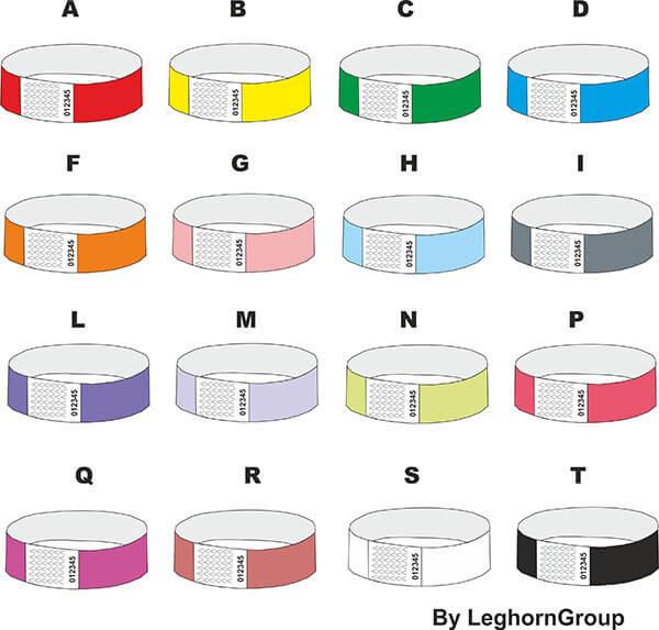 bracelets d'identification tyvek couleurs personnalisations