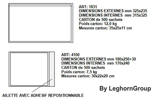 enveloppes adhesives porte documents packing list dimension