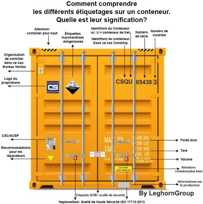 etiquettes marchandises dangereuses conteneur