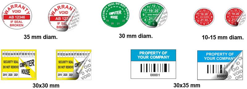 etiquettes void residu d'encre couleurs personnalisations