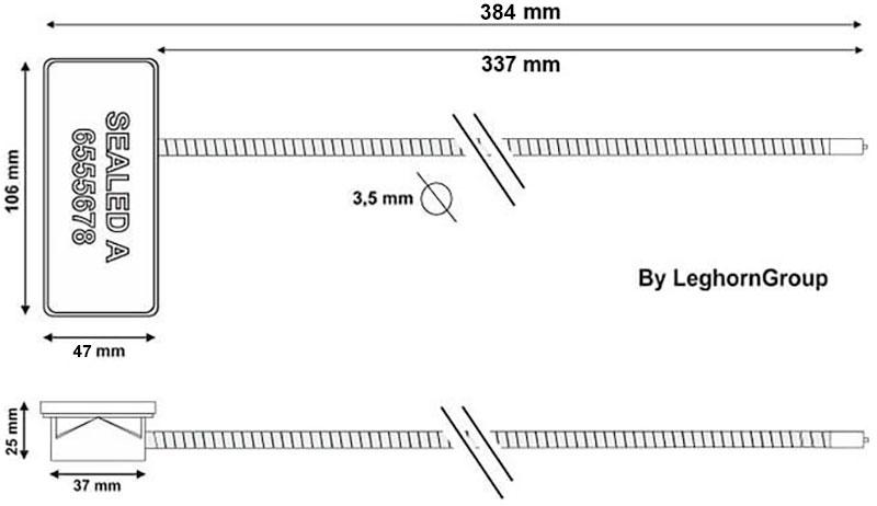 scelle cable rfid anti tamper dessin technique