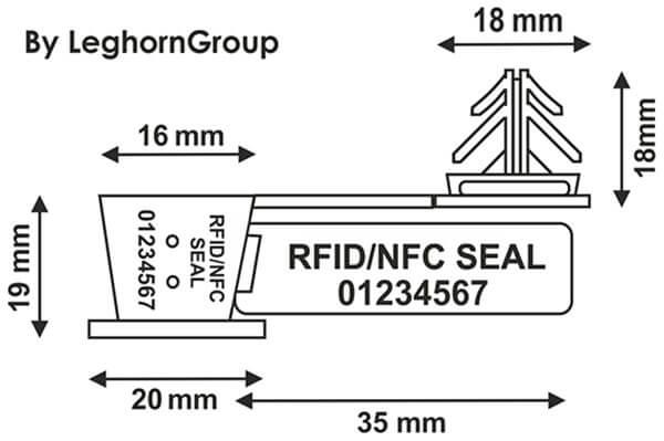 scelle fil plastique rfid anchorflag dessin technique