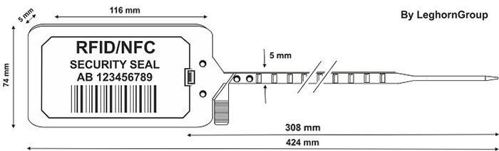scelle plastique titanseal rfid 5×424 mm dessin technique