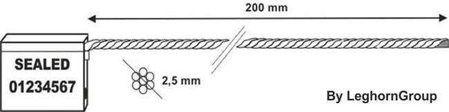 scelles avec cable 2.5×200 mm dessin technique