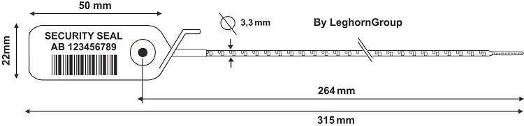scelles plastique adjustseal 3.3×315 mm dessin technique