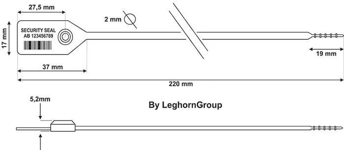 scelles plastique icarus 2×220 mm dessin technique