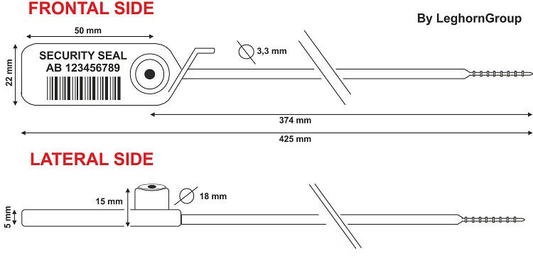 scelles plastique jupiter 3.3×425 mm dessin technique