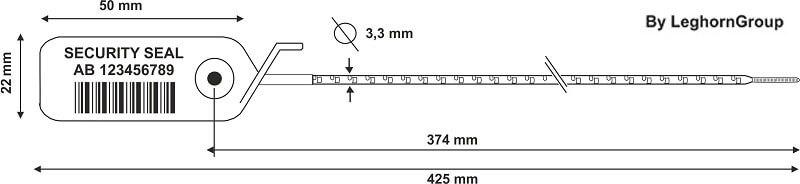 scelles plastique scite seal 3.3x425mm dessin technique