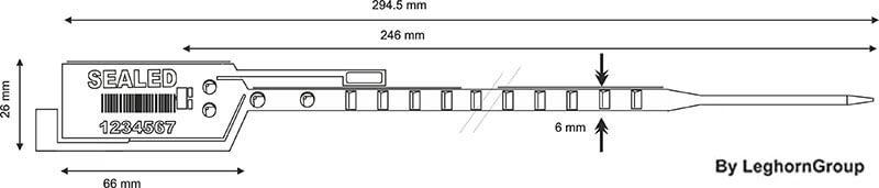 scelles plastique simpleseal 6×294 mm dessin technique