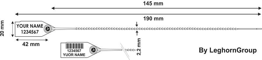 scelles plastique twiggyseal 2.2×190 mm dessin technique