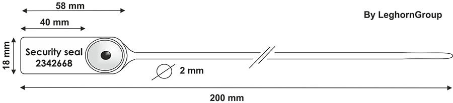 scelles plastique jupiter 2×200 mm dessin technique